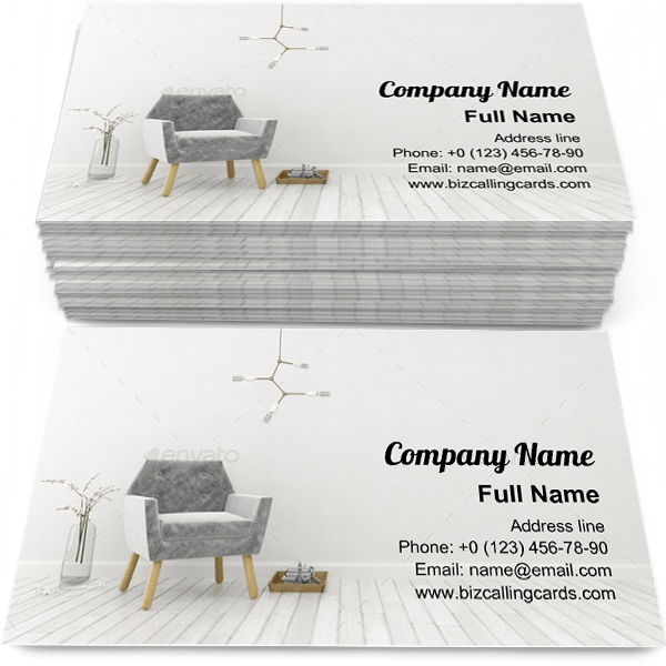 Sample of White interior design calling card design for advertisements marketing ideas and promote apartment architecture branding identity