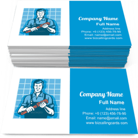 Worker With Monkey Wrench Business Card Template