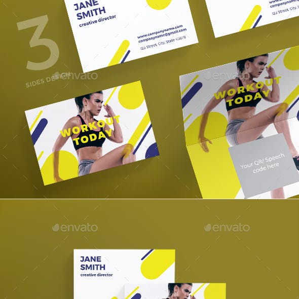 Workout trainer Business Card template Free Download