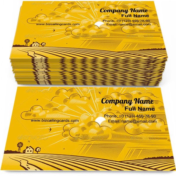 Sample of Yellow Clouds Over Felds calling card design for advertisements marketing ideas and promote farm branding identity