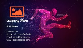Male athlete jumping Business Card Template