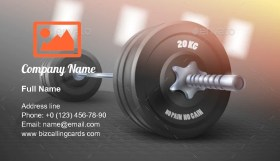 Metal Realistic Dumbbell Business Card Template