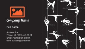 Pole Dancer Silhouette Business Card Template