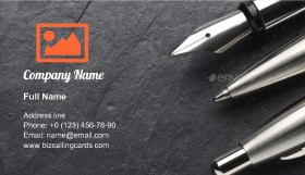 Metal ballpoint and fountain pen Business Card Template