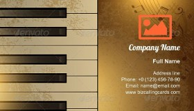 Piano and notes Business Card Template