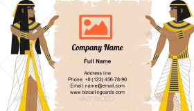 Egyptian Holding Papyrus Business Card Template