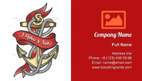 Ship Anchor Colorful Business Card Template