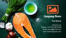 Raw fish steaks with ingredients Business Card Template