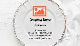 White empty plate Business Card Template