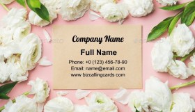White ranunculus flowers Business Card Template