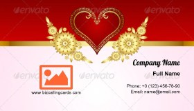 Heart Decoration Business Card Template