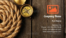 Rope and Antique compass Business Card Template