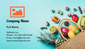 Exotic fruits in straw summer bag Business Card Template