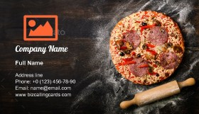 Pizza, rolling pin, flour Business Card Template