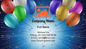 Balloons and confetti Business Card Template