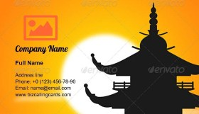 Pagoda Silhouette at Dusk Business Card Template