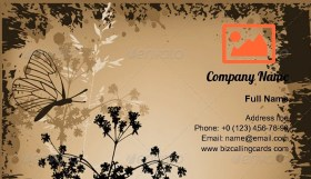 Grunge floral butterflies Business Card Template