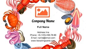 Frame with Various Seafood Business Card Template