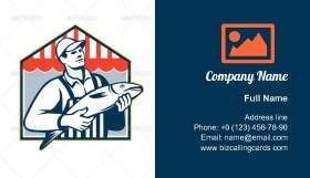 Fishmonger Holding Fish Business Card Template