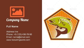 Trout Fish Jumping Business Card Template