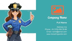 Girl Police officer Business Card Template