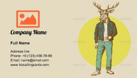 Vintage Deer man Illustration Business Card Template