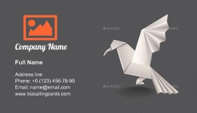 Origami bird wing Business Card Template