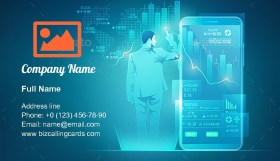 Online trading technology Business Card Template