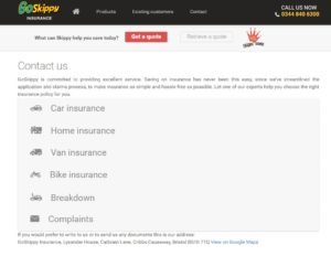 screenshot of go skippy contact page