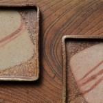 四角い牡丹餅の景色が楽しい備前焼の正方皿