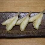 備前長方たたき皿と鱚の天ぷら