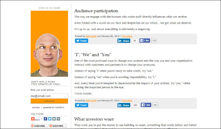 Seth Godin's blog screenshot