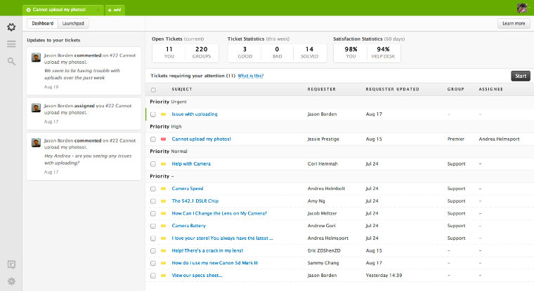 Zendesk screenshot