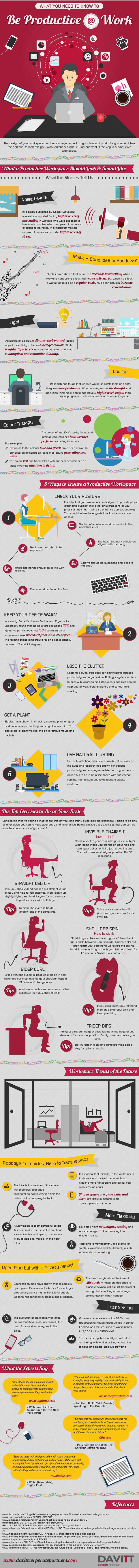 How to be productive at work - infographic