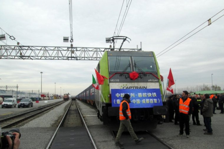 Freight train departing from Mortara, Italy to Chengdu, China