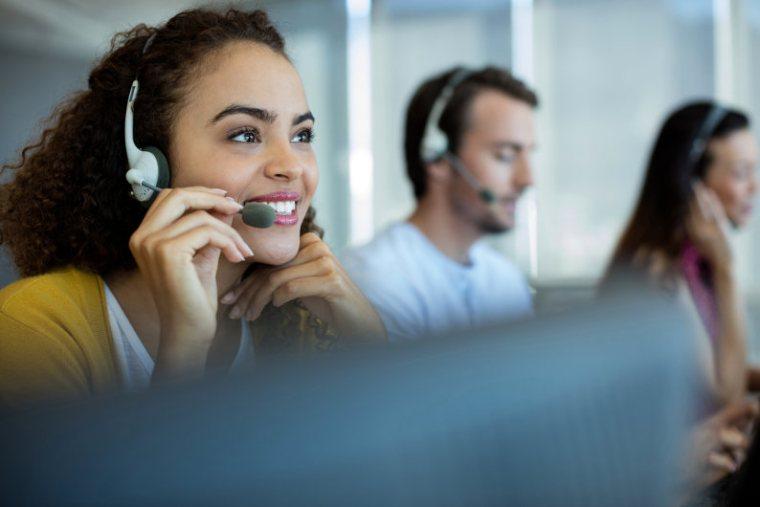 Call center staff taking calls
