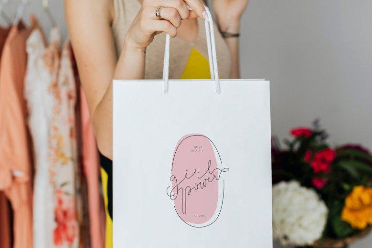Branded paper shopping bag