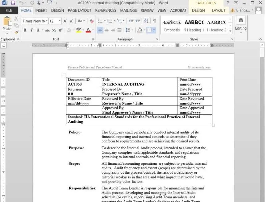 Champlain College Publishing  Procedure Manual Template Word
