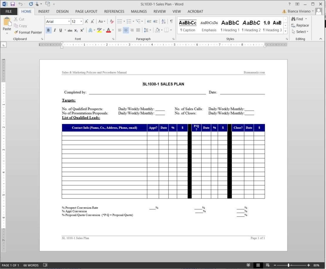 Sales Plan Template