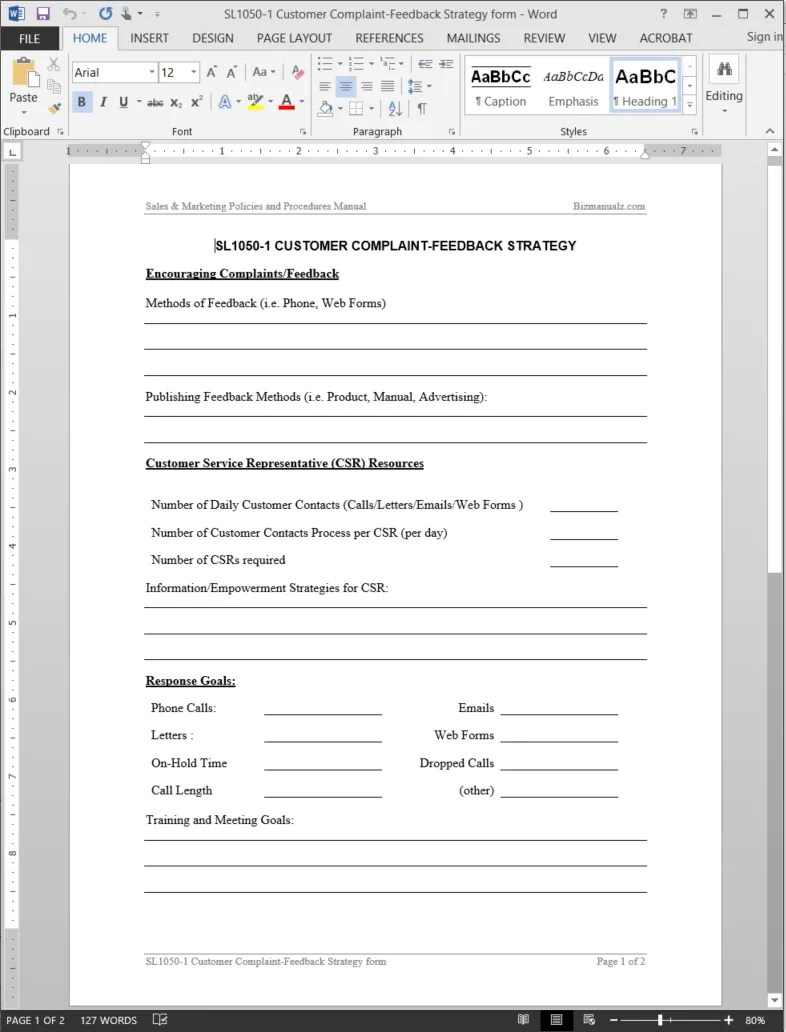 Customer Complaint Feedback Strategy Worksheet Template