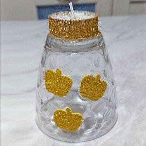 bicchiere a candela con mele glitterate in oro