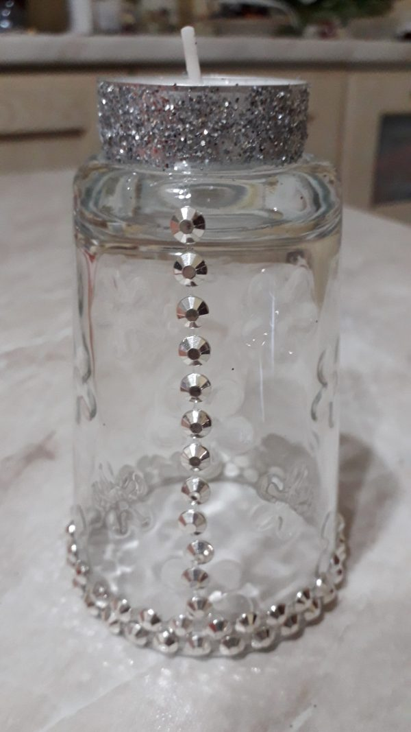 bicchiere a candela con strass argento