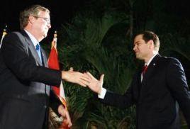 Marco Rubio greets Jeb Bush
