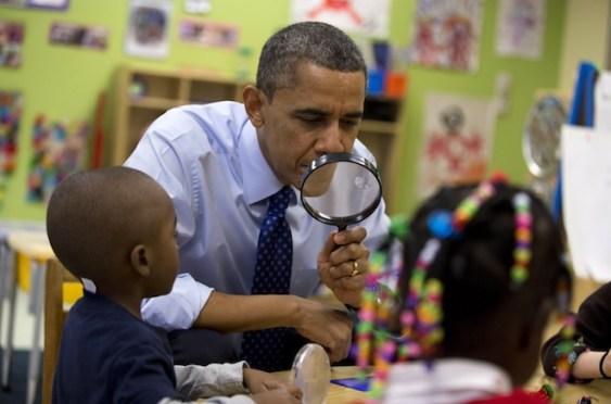 Barack Obama with preschoolers