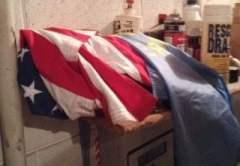 American flag stored on boiler