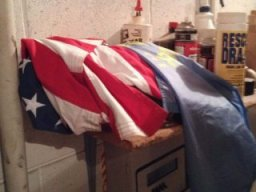 American flag improperly stored