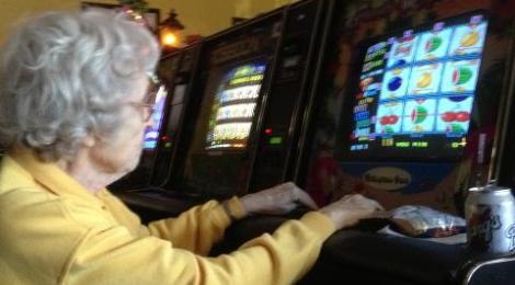 gambling Granny at internet cafe