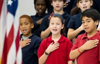 Children at school pledge