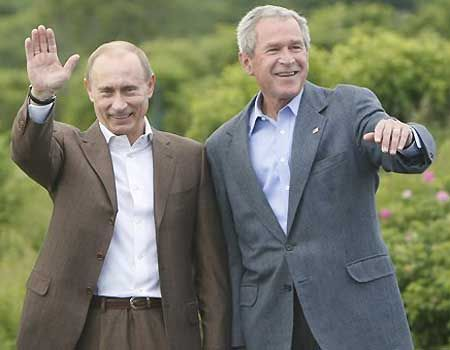 Vladimir Putin and George W Bush