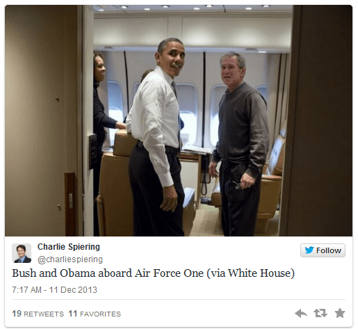 Bush and Obama on Air Force One tweet